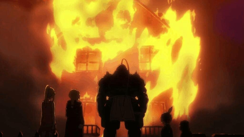 Cena de Fullmetal Achemist onde tem uma casa pegando fogo