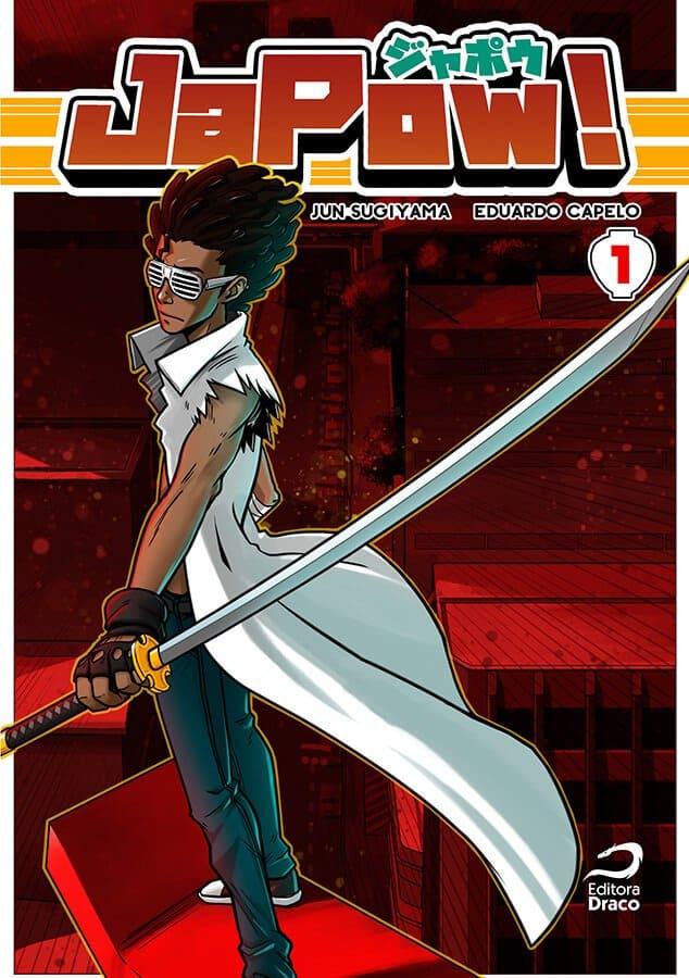 Capa do volume 1 de Japow! Samurai negro de sobretudo branco segurando uma katana