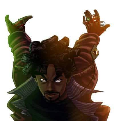 Personagem de Digude prepatrando uma jogada com 4 bolinhas de gude entre os dedos