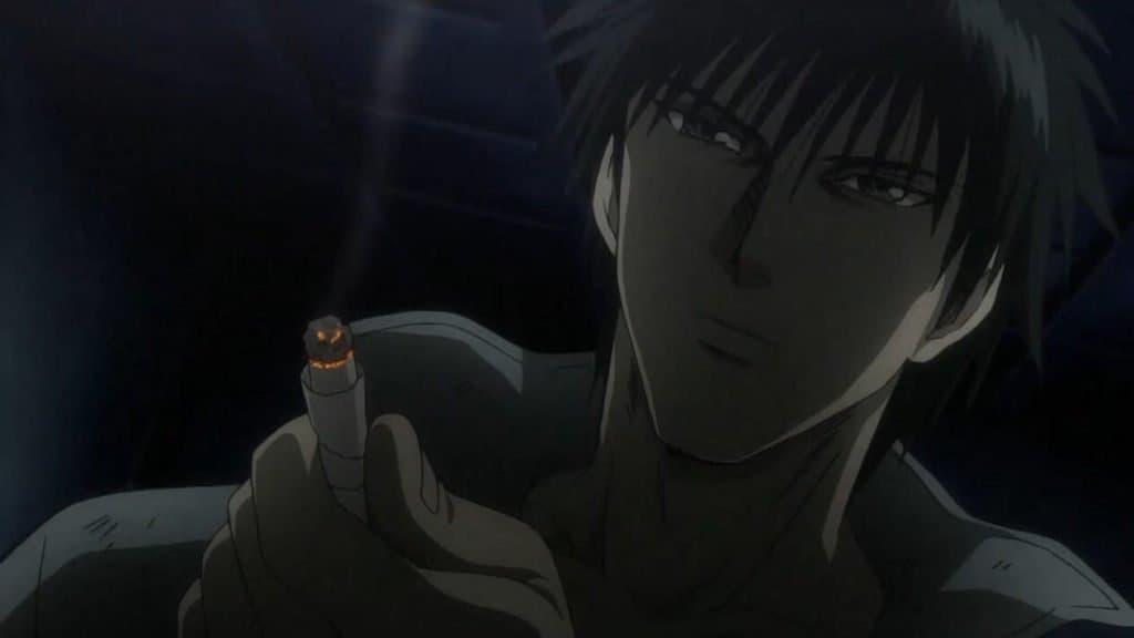 Sakuragi Rainbow com cigarro aceso em sua mão