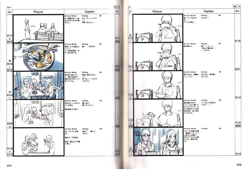 Storyboard de Makoto Shinkai