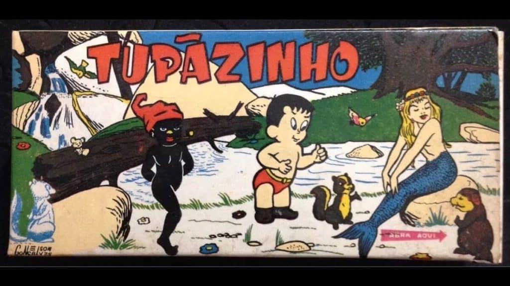 Tupãzinho, primeiro mangá brasileiro. Na capa, personagens do folclore brasileiro