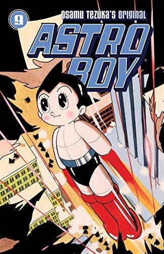 astro boy mangá de tezuka com astro boy voando e colorido