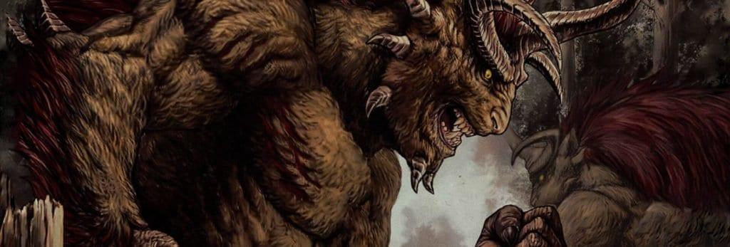 capa monster x monster onde 2 monstros aparecem, com chifres e pelugem. Um deles seguram um corpo humano que caçou