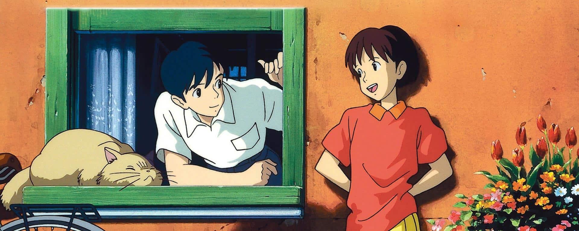personagens de sussuros do coração studio ghibli na janela