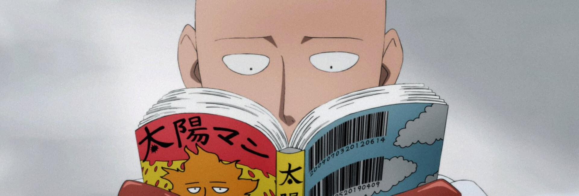 o que é mangá com saitama de one punch man lendo um mangá no centro da imagem