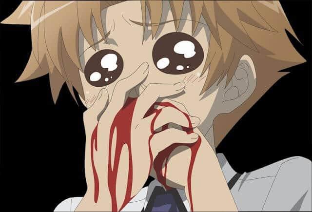 sangue saindo pelo nariz em anime baka to test