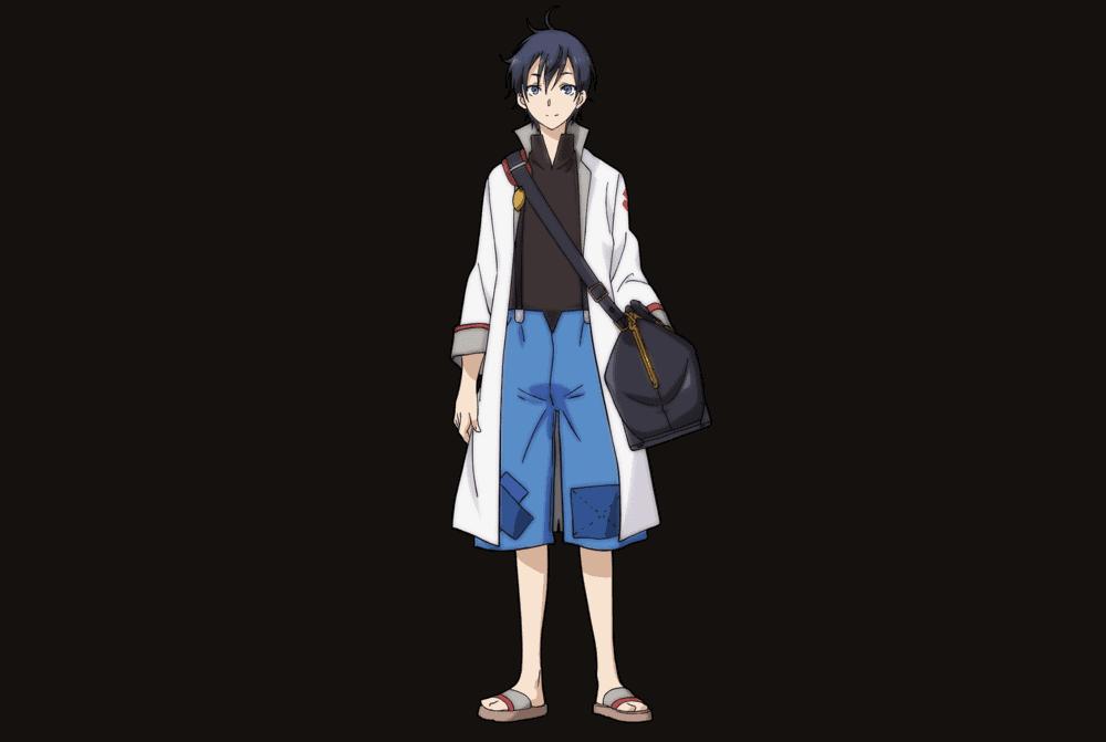 Glenn Monster Musume no Oishasan, menino com design padrão, branco de cabelos scuros meia altura
