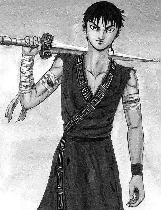 protagonista de Kingdom segurando espada nos ombros