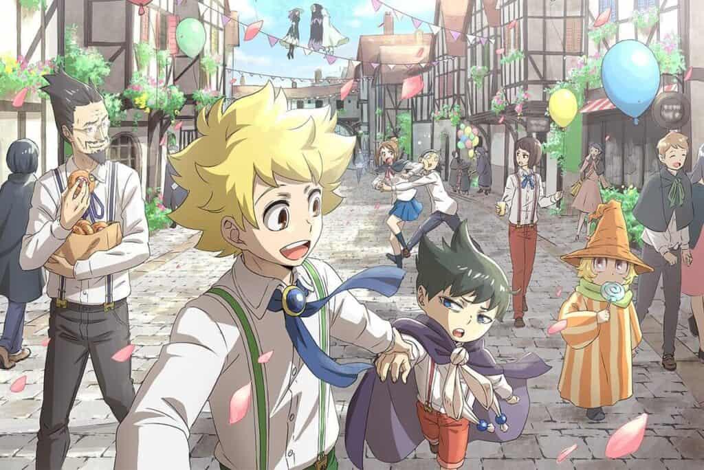 Muhyo to Rouji em uma rua movimentada e feliz