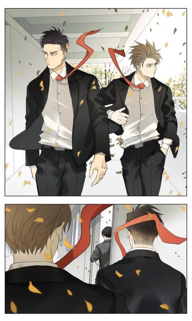 Personagens Nan Hao & Shang Feng de terno e gravata vermelha andando em um corredor com suas roupas ao vento e folhas ao fundo