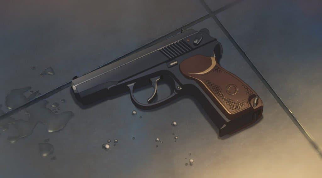 arma em tenki no ko largada no chão molhado