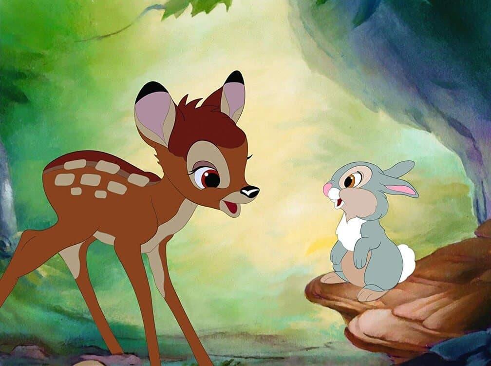 bambi falando com um coelho em filme da Disney que influenciou o Tezuka