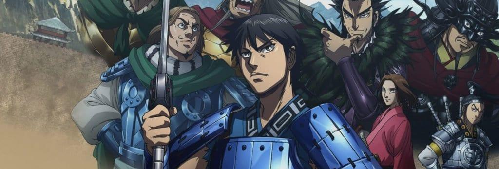 Personagens do anime kingdom na capa com armaduras e espadas