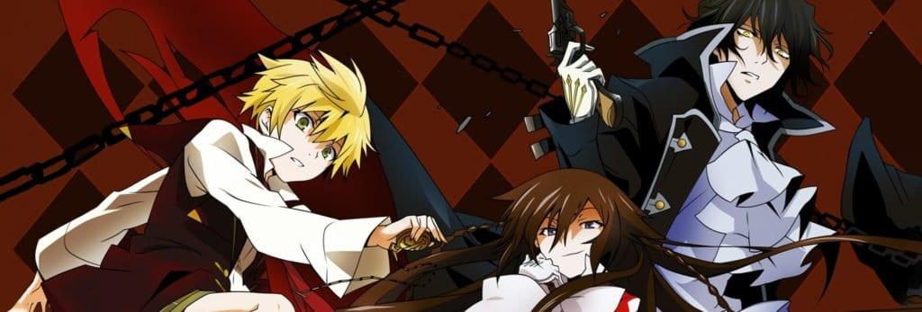 capa pandora hearts com os 3 protagonistas um loiro uma mulher com tranças e cablo preto e um homem de cabelo preto