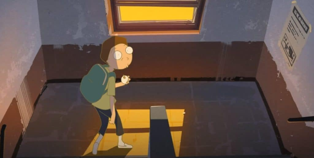 animação do morty subindo a escada