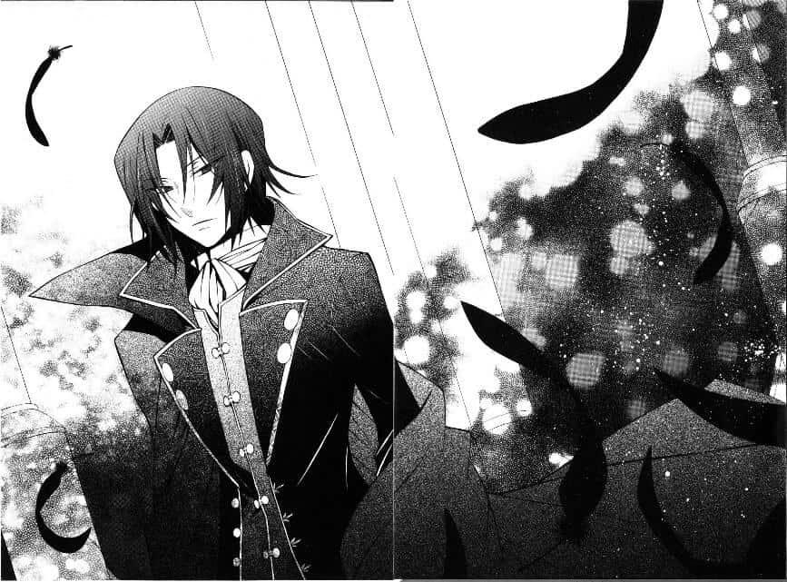 cena do manga de pandora com personagem com olhar sério e cabelo preto