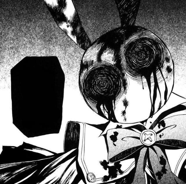 coelho medonho em preto e branco com um balão de fala todo preto