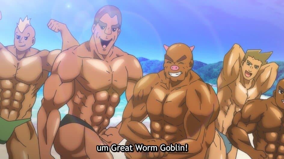 homens fortes em foto no anime
