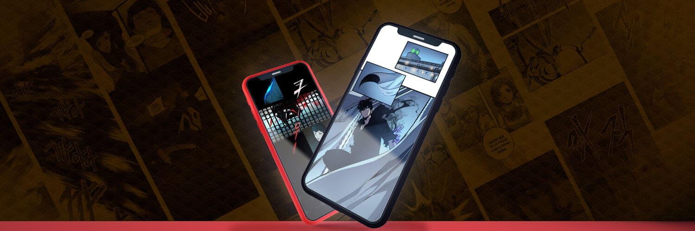 grandes exemplode webtoons na tela de celulares, solo leveling e tower of god