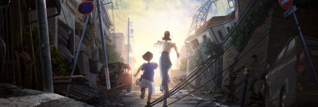 capa onde 2 irmãos de japão submerso correm em uma rua depois de um desastre