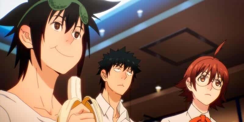 personagens the god of high school comendo uma banana