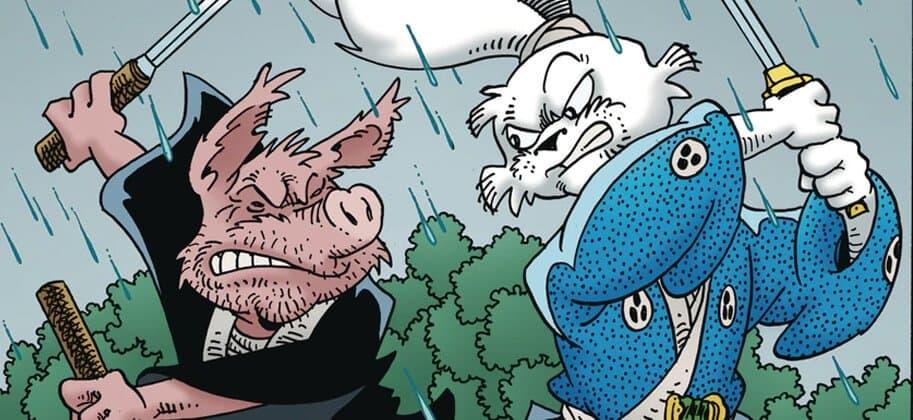 protagonista de usagi yojimbo lutando com um porco
