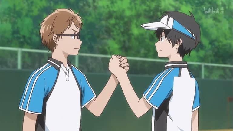 Hoshiai no Sora personagens dando as mãos e comemorando