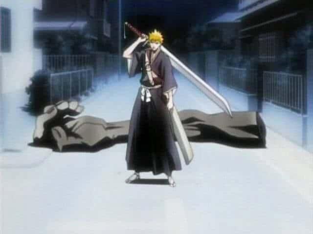 Ichigio segurando sua zanpakutou pela primeira vez, animes parecidos com naruto