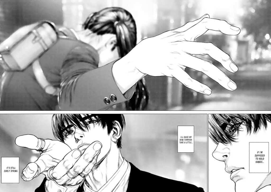 Personagens mostrando a mão, boichi mostrando que sabe impor a noção de profundidade em seus desenhos