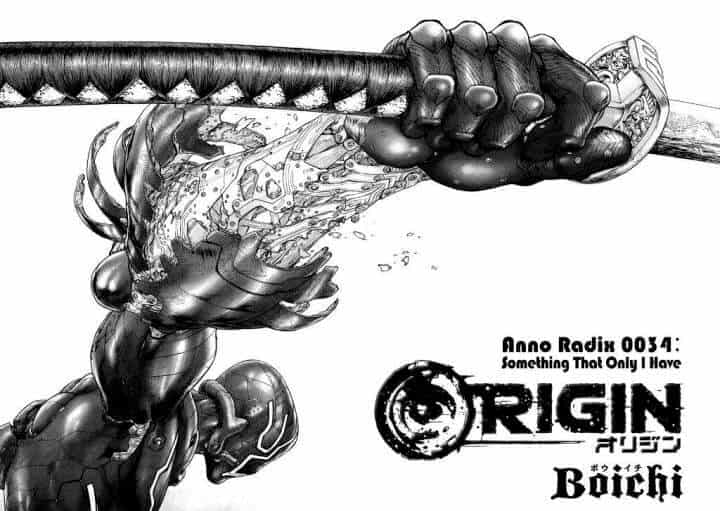 Capa de Origin, um ciborg segurando uma espada samurai, um dos mangás do boichi