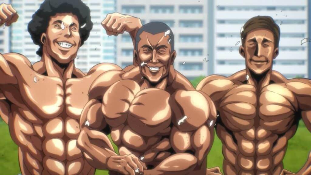Três personagens bodybuilder um ao lado do outro exibindo seus músculos logo aós rasgarem suas regatas com a força da contração dos músculos em The god of high school