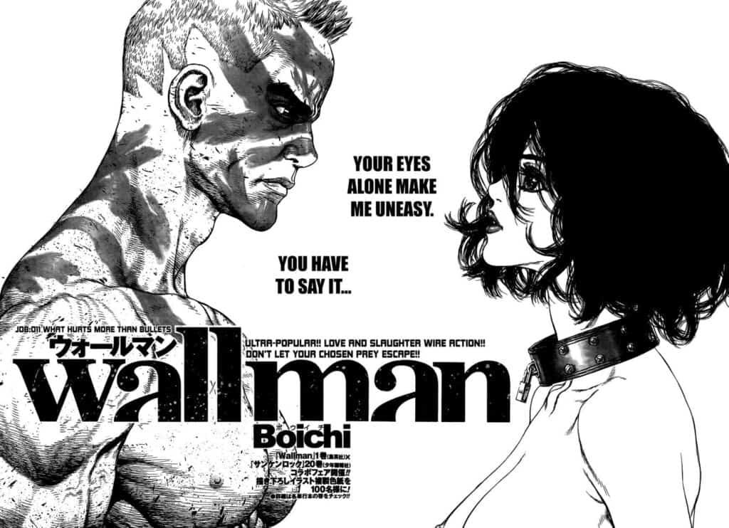 Um personagem com masculino com pinturas de guerra pelo corpo olhando para uma mulher de cabelo curto com algm tipo de coleira no pescoço, um dos mangás do boichi