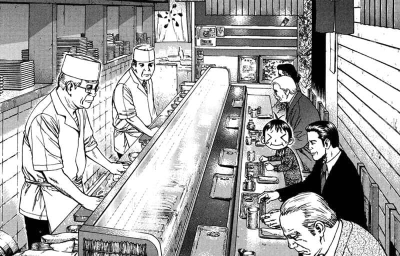 Pessoas comendo em um tipo restaurante japones