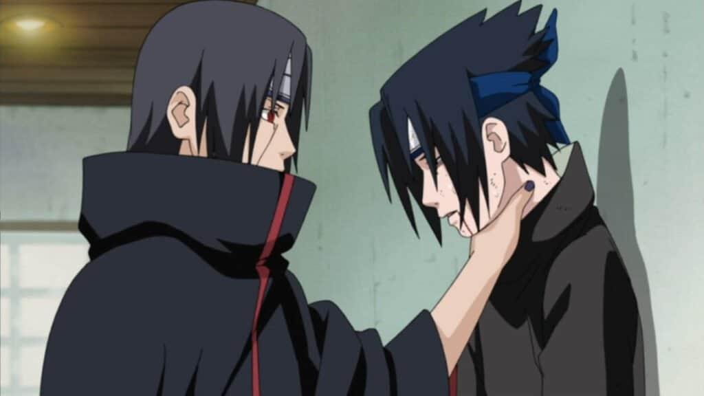 itachi segurando o sasuke pelo pescoço