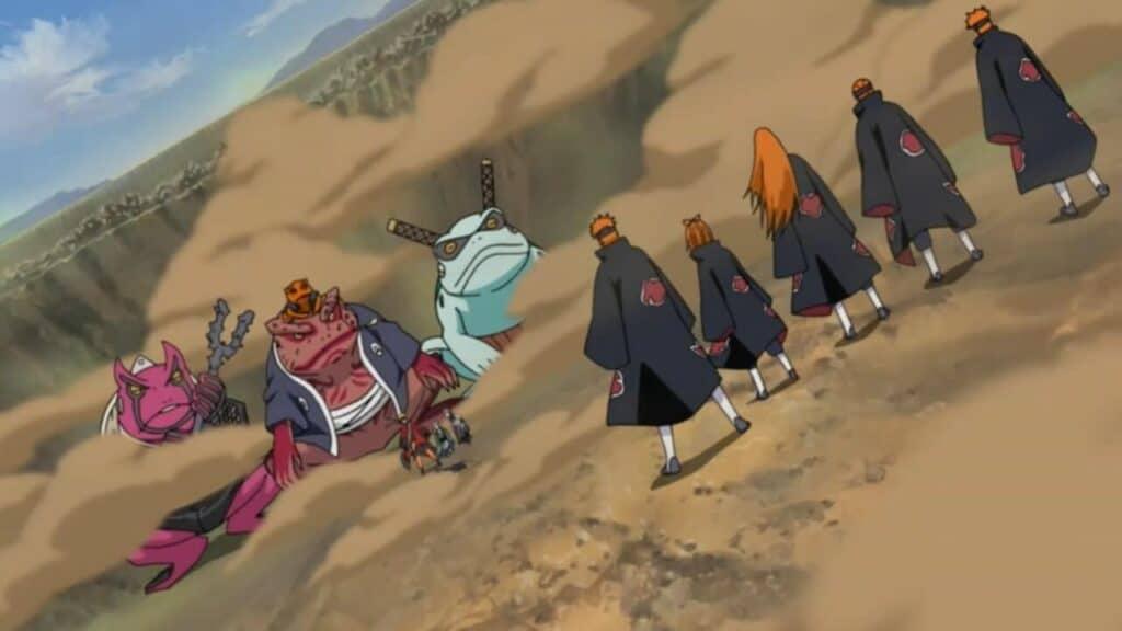 naruto chega na vila para lutar com os 6 corpos do pain