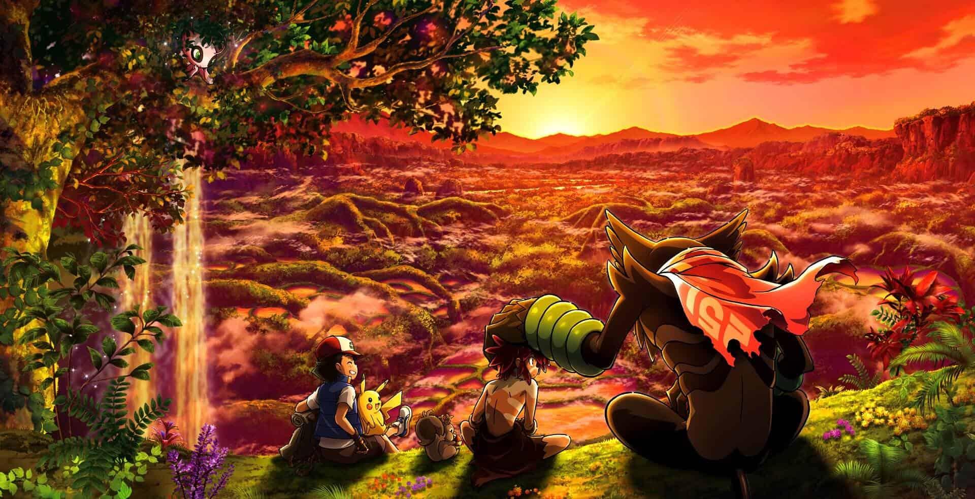 Ash Pikachu, Koko e Zarude descansando pokémon