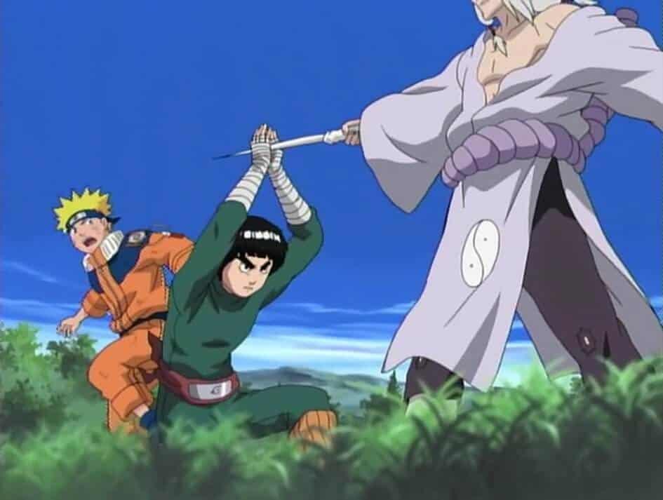 rock lee impede ataque do kimimaru no naruto