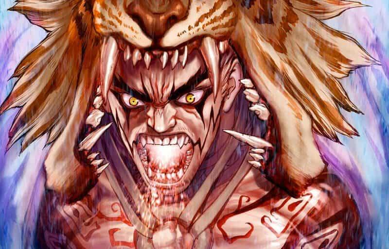 Um personagem vestindo a cabeça de um leão preparando algum poder na boca, um dos mangás do Boichi