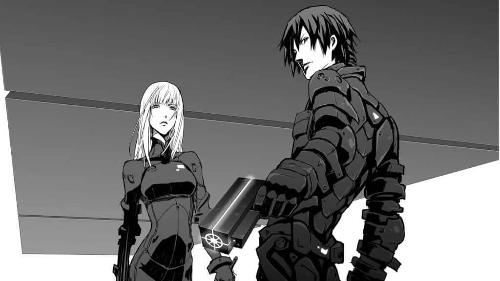Protagonista de Blame segurando uma arma e uma mulher ao fundo