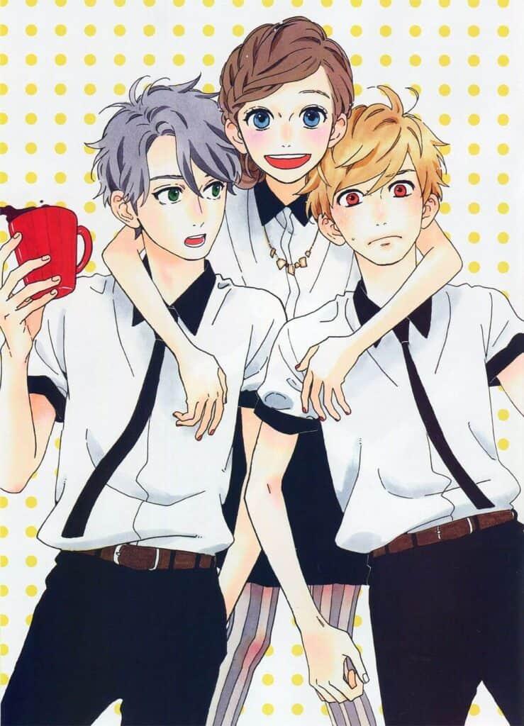 hirunaka no ryuusei protagonista abraçando 2 garotos
