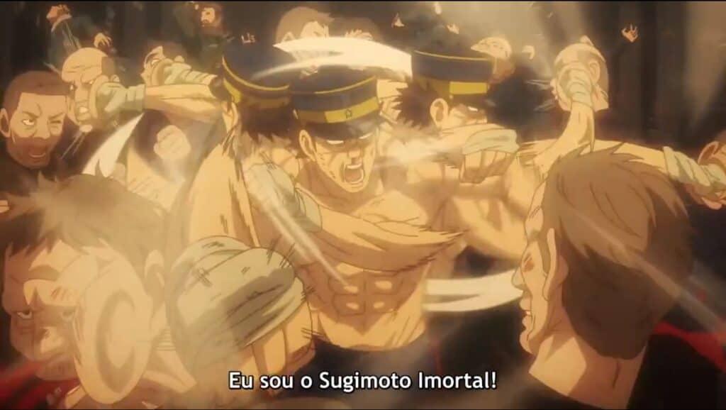 Sugimoto lutando contra dezenas de pessoas