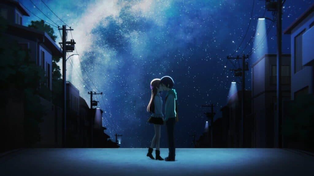 Nasa e Tsukasa se beijando a luz da lua em tonikaku kawaii