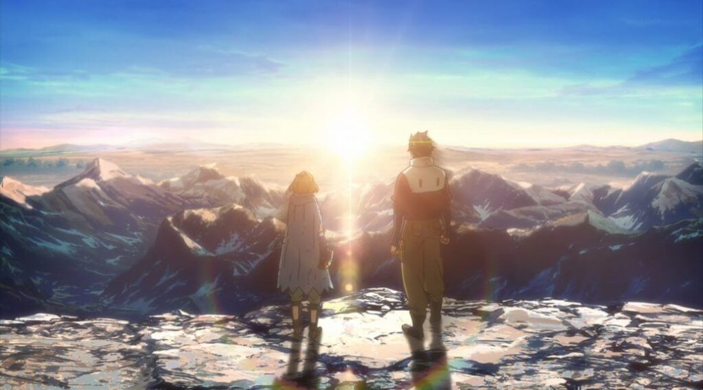 deca dence paisagem com dois personagens olhando para o sol se pondo
