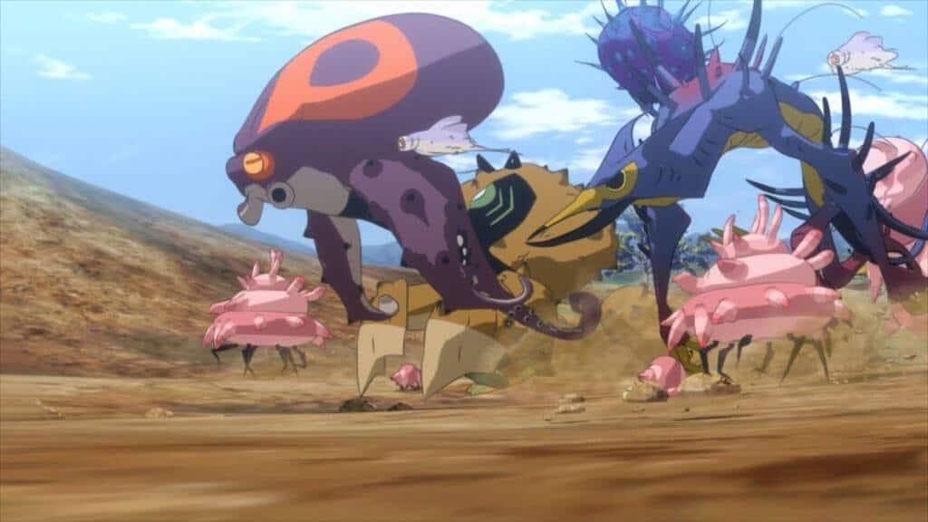 gadolls os monstros da história correndo em meio ao deserto