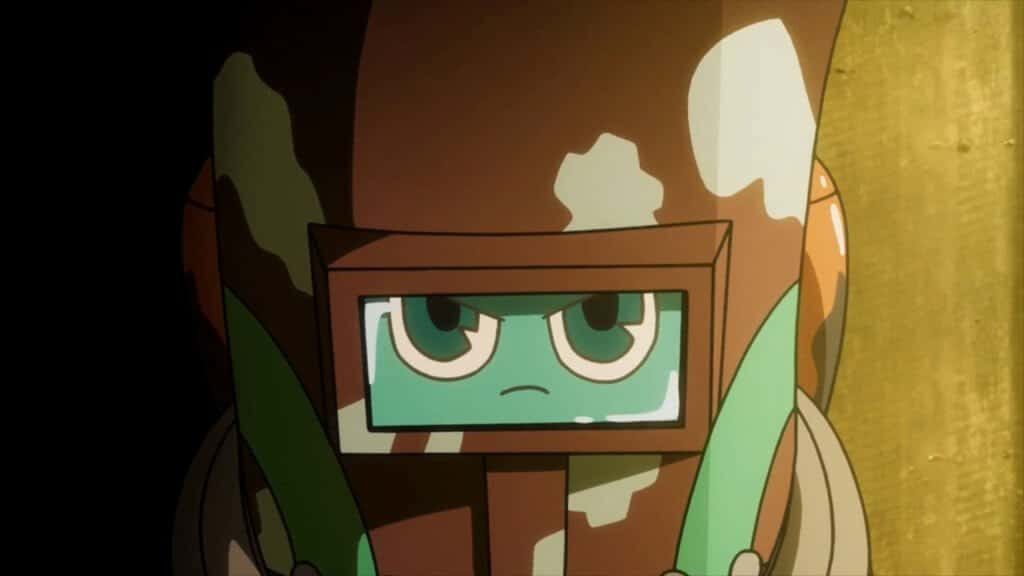 kaburagi em sua forma geloko com cara séria olhando para câmera