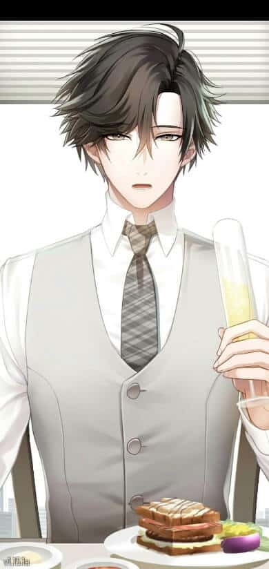 jumin mystic messenger com taça de champanhe na mão