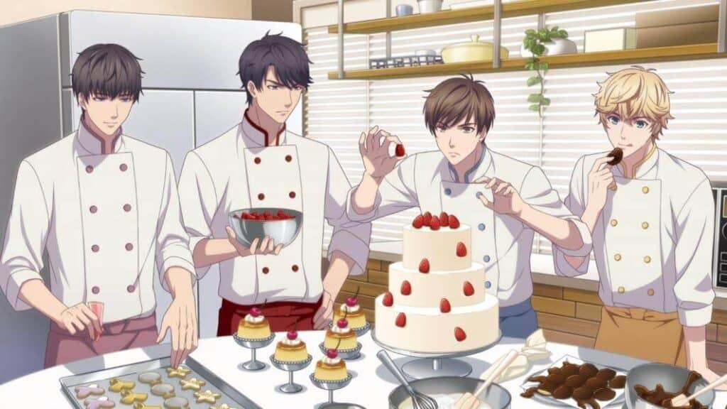 personagens de koi to producer fazendo bolo de morango juntos