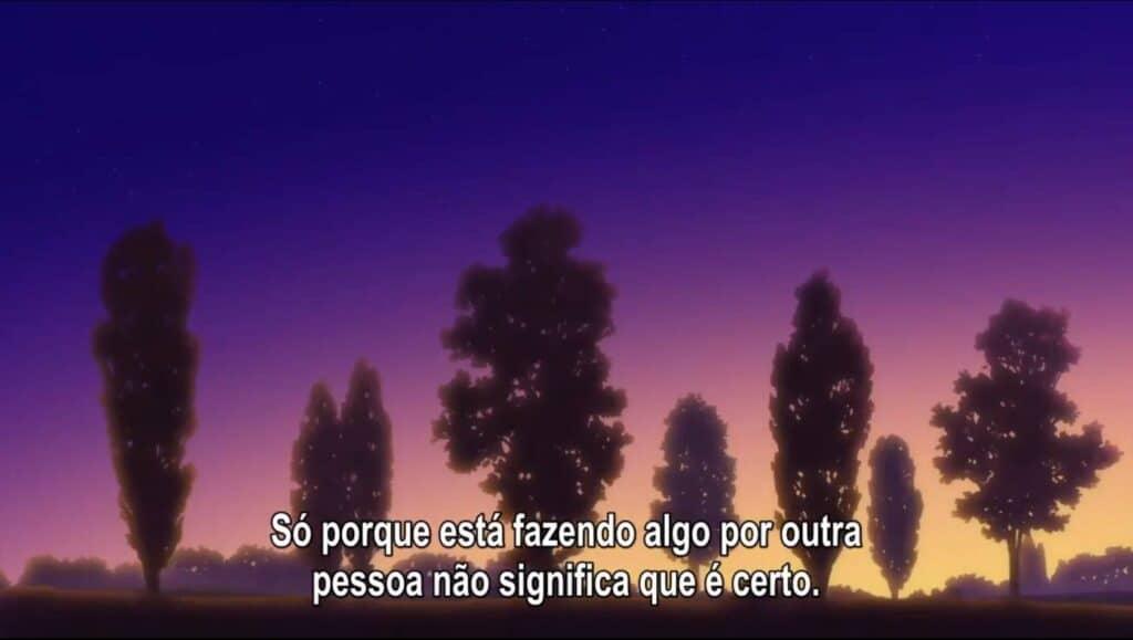"""Majo no Tabitabi mostrando que pode se melancolico com o texto """"Só porque está fazendo algo por outra pessoa, não significa que é certo."""""""