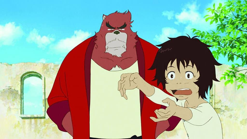 menino brincando ao lado de um homem fera gigante